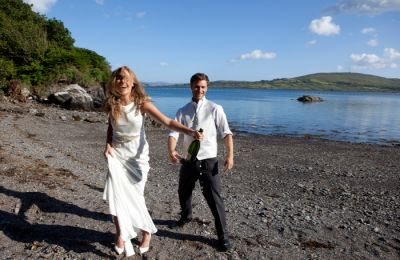 Wedding Couple on Berehaven Lodge Beach